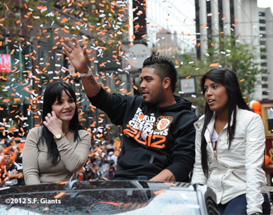 sf giants, san francisco giants, photo, parade, 10/31/2012, hector sanchez