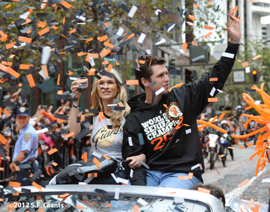 sf giants, san francisco giants, photo, parade, 10/31/2012, buster posey
