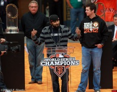 sf giants, san francisco giants, photo, parade, 10/31/2012, Duane Kuiper, Sergio Romo and Buster Posey