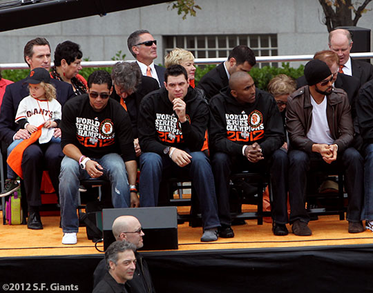 sf giants, san francisco giants, photo, parade, 10/31/2012, Gregor Blanco, Brandon Belt, Joaquin Arias and Angel Pagan