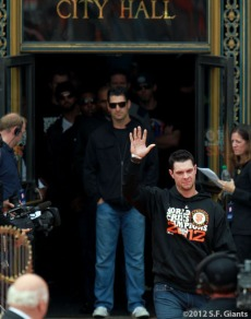 sf giants, san francisco giants, photo, parade, 10/31/2012, Brandon Belt