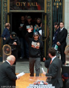 sf giants, san francisco giants, photo, parade, 10/31/2012, Brandon Crawford
