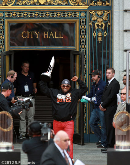 sf giants, san francisco giants, photo, parade, 10/31/2012, Pablo Sandoval
