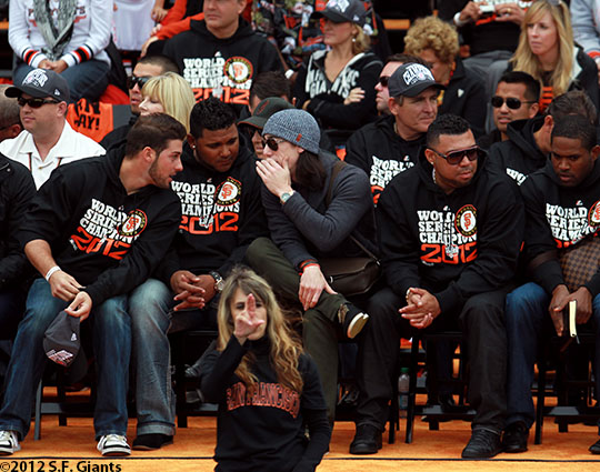 sf giants, san francisco giants, photo, parade, 10/31/2012, George Kontos, Jean Machi and Tim Lincecum