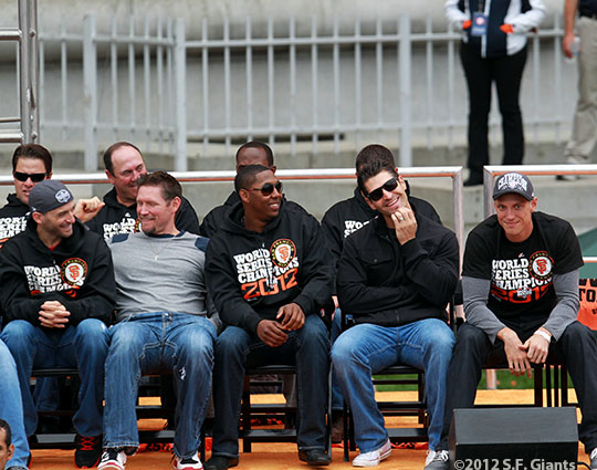 Marco Scutaro, Aubrey Huff, Francisco Peguero, Xavier Nady and Hunter Pence