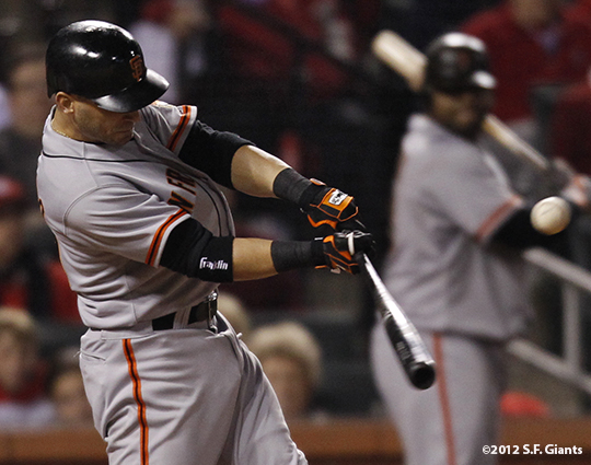 sf giants, san francisco giants, photo, 10/19/2012, nlcs game 5, marco scutaro, pablo sandoval