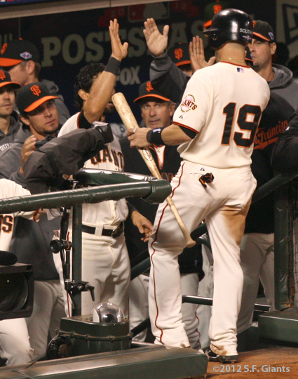 SF Giants, san francisco giants, photo, 10/14/2012, nlcs game 1, team, marco scutaro