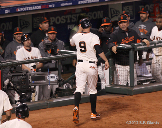 SF Giants, san francisco giants, photo, 10/14/2012, nlcs game 1, team, brandon belt