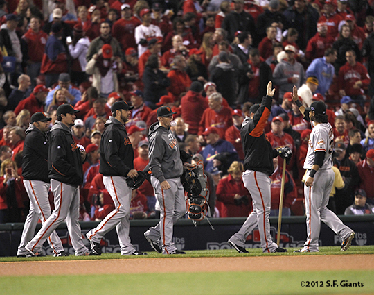 sf giants, san francisco giants, photo, 10/19/2012, nlcs game 5, bullpen, team, brandon crawford, george kontos, eli whiteside, madison bumgarner, javier lopez, jeremy affeldt