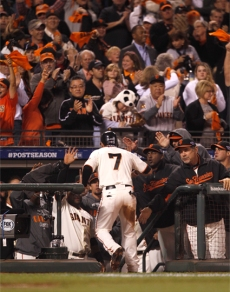 SF Giants, san francisco giants, photo, 10/14/2012, nlcs game 1, gregor blanco, fans, team