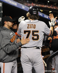 sf giants, san francisco giants, photo, 10/19/2012, nlcs game 5, barry zito, team, clay hensley