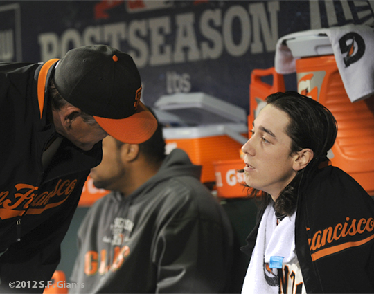 SF Giants, san francisco giants, photo, 10/14/2012, nlcs game 1, dave righetti, tim lincecum