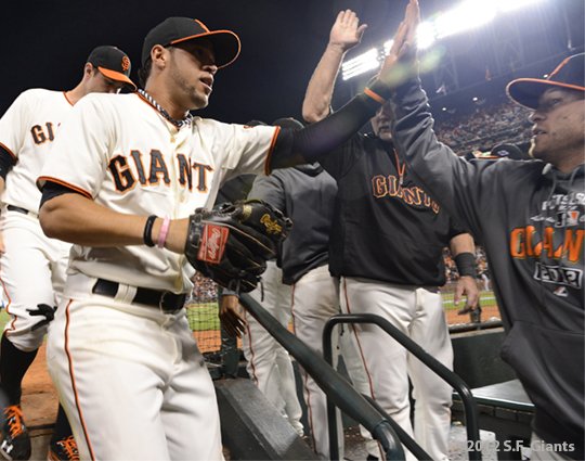 SF Giants, san francisco giants, photo, 10/14/2012, nlcs game 1, Gregor blanco, team, freddy sanchez