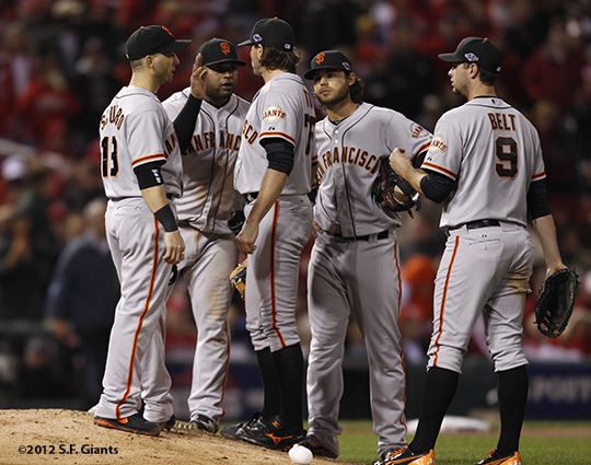 sf giants, san francisco giants, photo, 10/19/2012, nlcs game 5, barry zito, team, brandon belt, brandon crawford, pablo sandoval, marco scutaro