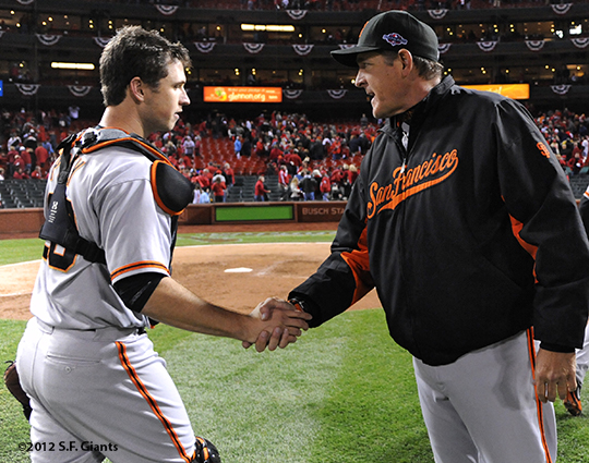 sf giants, san francisco giants, photo, 10/19/2012, nlcs game 5, buster posey, dave righetti