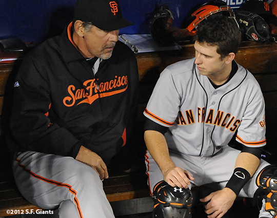 sf giants, san francisco giants, photo, 10/19/2012, nlcs game 5, buster posey, bruce bochy