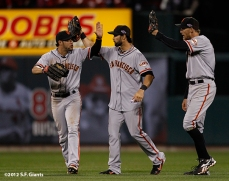 sf giants, san francisco giants, photo, 10/19/2012, nlcs game 5, gregor blanco, angel pagan, hunter pence