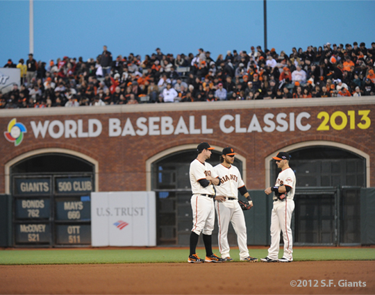 SF Giants, san francisco giants, photo, 10/14/2012, nlcs game 1, brandon belt, brandon crawford, marco cutaro