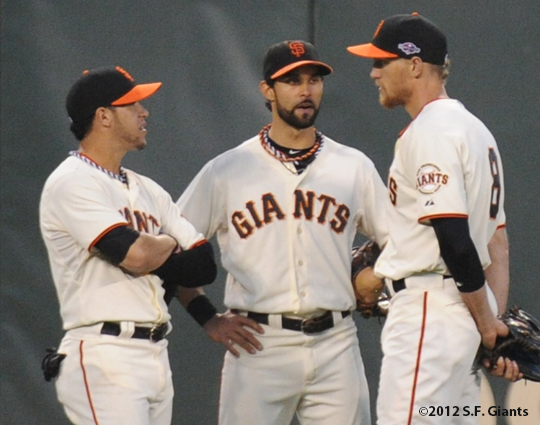 SF Giants, san francisco giants, photo, 10/14/2012, nlcs game 1, gregor blanco, angel pagan, hunter pence