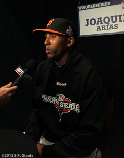 sf giants, san francisco giants, photo, media day, world series, JOAUQIN ARIAS