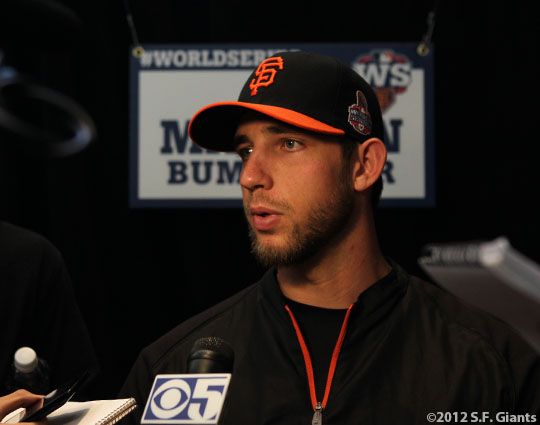 sf gaints, san francisco giants, photo, ws, media day, 2012, Madison Bumgarner
