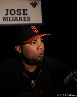 sf gaints, san francisco giants, photo, ws, media day, 2012, JOSE MIJARES