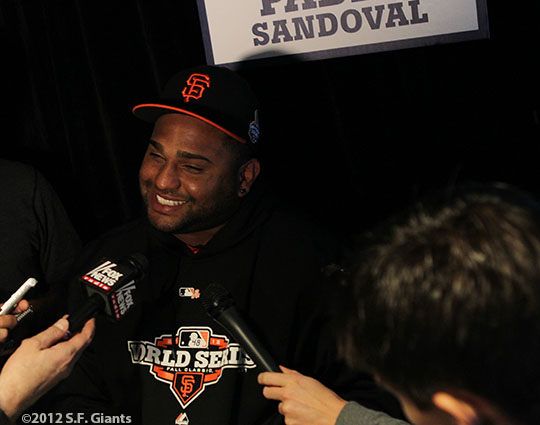 sf gaints, san francisco giants, photo, ws, media day, 2012, PABLO SANDOVAL