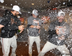 sf giants, clinch the west, photo, 2012, madison bumgarner, xavier nady