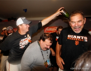 sf giants, 2012, clinch the west, clubhouse, photo ray ratto, matt cain, bruce bochy