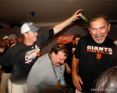 sf giants, clinch the west, 2012, photo, matt cain, bruce bochy