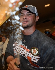 sf giants, 2012, clinch the west, clubhouse, photo, ryan vogelsong