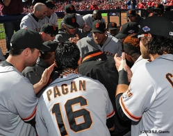 sf giants, photo, 2012, nlds, team, angel pagan, hunter pence