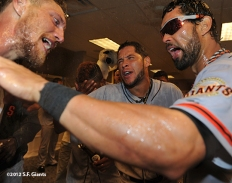sf giants, nlds, game 5, 2012, photo, hunter pence, angel pagan, gregor blanco
