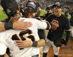 Angel Pagan, Brandon Crawford, Hunter Pencesf giants, nlcs, game 7, 2012, photo,