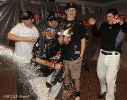 sf giants, nlcs, game 7, 2012, photo,clubhouse staff, gregor blanco, joe day, ron garcia, zack welsh, marco alioto