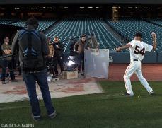 San Francisco Giants, S.F. Giants, photo, 2013, commercial shoot, Sergio Romo