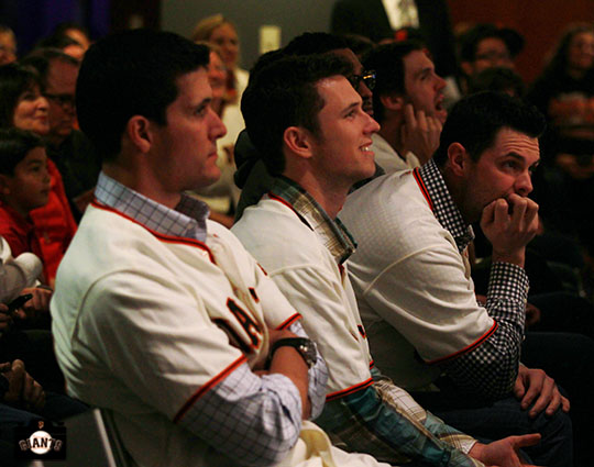 Javier Lopez, Buster Posey and Brandon Belt