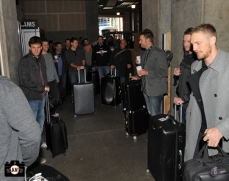 Players securing their luggage