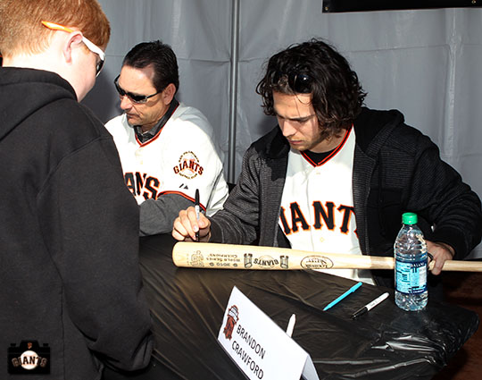 San Francisco Giants, S.F. Giants, photo, 2013, Fan Fest, Mark Gardner, Brandon Crawford