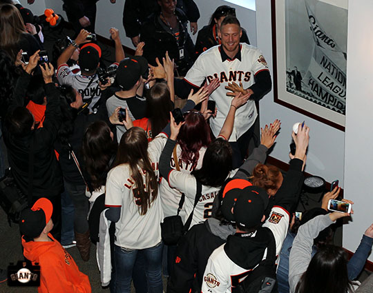 San Francisco Giants, S.F. Giants, photo, 2013, Fan Fest, Hunter Pence