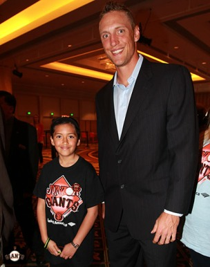 San Francisco Giants, S.F. Giants, photo, 2013, Play Ball Lunch, Jr. Giants. Hunter Pence
