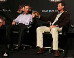 San Francisco Giants, S.F. Giants, photo, 2013, Play Ball Lunch, Jr. Giants, Marco Scutaro, Ryan Vogelsong