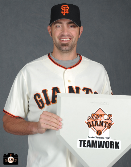 Jeremy Affeldt poses for the Jr Giants handbook on Tuesday, February 19, 2013.
