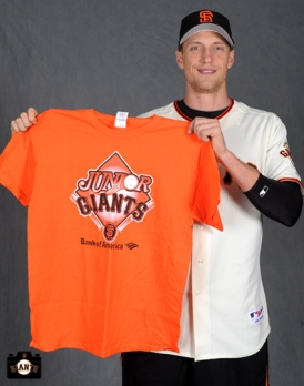 Hunter Pence poses for the Jr Giants handbook on Tuesday, February 19, 2013.