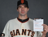 Barry Zito poses for the Jr Giants handbook on Tuesday, February 19, 2013.