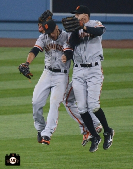 april 3, 2013, sf giants, la,Gregor Blanco, Angel Pagan & Hunter Pence