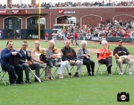 ray ratto, kristen posey, lee posey, addison posey, neal posey, jack tippens, lynda tippens, traci posey, demp posey,2013 sf giants, april 6, photo, buster posey award ceremony,