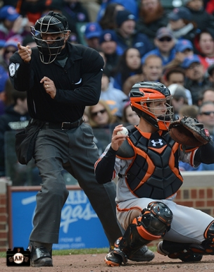 april 13, 2013, sf giants, chicago cubs, wrigley field, photo, umpire, buster posey