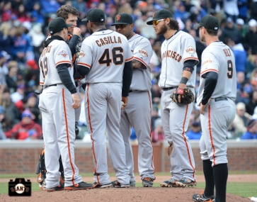 april 13, 2013, sf giants, chicago cubs, wrigley field, photo, marco scutaro, buster posey, santiago casilla, pablo sandoval, brandon crawford, brandon belt
