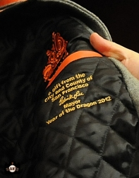april 23, 2013, sf giants, photo, team, mayor ed lee, jacket presentation